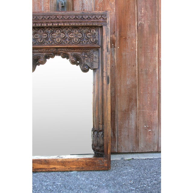Beautiful Old Hindaun Jarokha Carved Mirror For Sale - Image 9 of 11