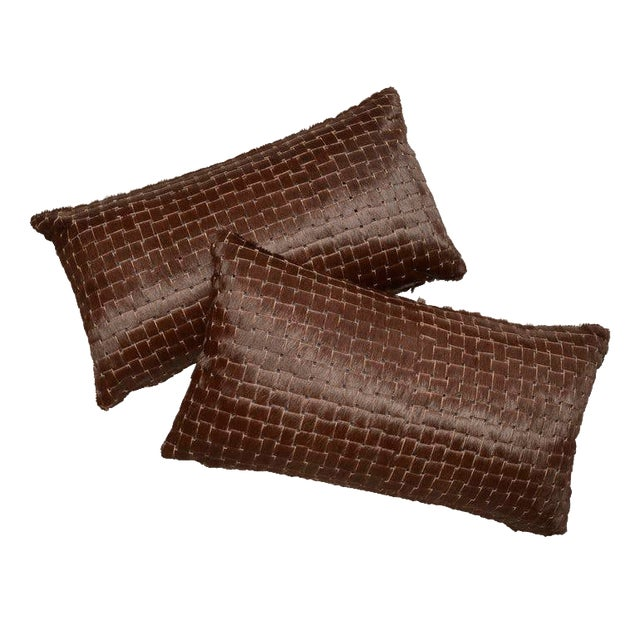 Chocolate Brown Laser Cut Cowhide Hair Lumbar Pillows *Luxurious high sheen cowhide from Normandy France *Chocolate Brown...