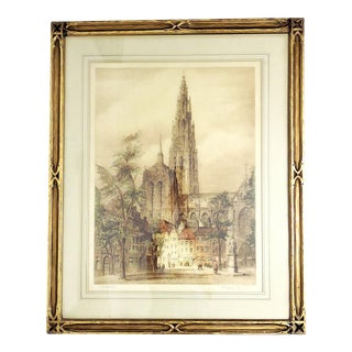 Antique Gothic Framed 'Antwerp Cathedral' Etching / Print, Pencil Signed J. Alphege Brewer For Sale