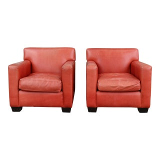 Vintage Mid-Century Modern Burnt Orange Leather Chairs - a Pair For Sale