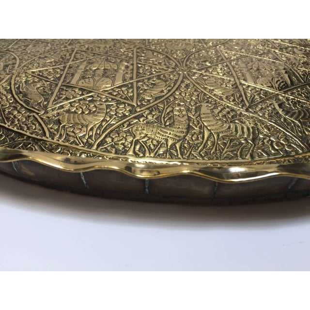 Large Handcrafted Decorative Indo-Persian Hammered Brass Tray For Sale In Los Angeles - Image 6 of 13