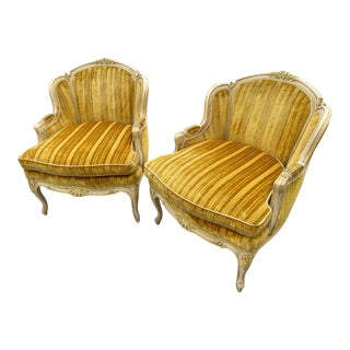 Vintage French Bergeres Striped Velvet Louis XV Style - a Pair For Sale