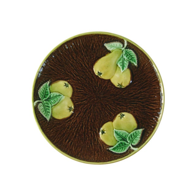 Vintage Majolica Plate With Pears - Image 1 of 3