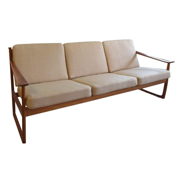 Danish Modern Sleigh Sofa by Peter Hvidt For Sale