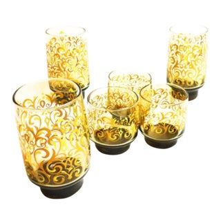 1960s Vintage Libbey Amber Colored Glassware - Set of 6
