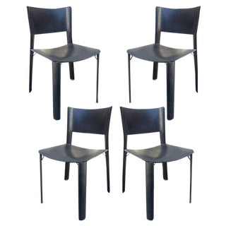 1950s Vintage Stretched Black Leather Dining Chairs- Set of 4 For Sale
