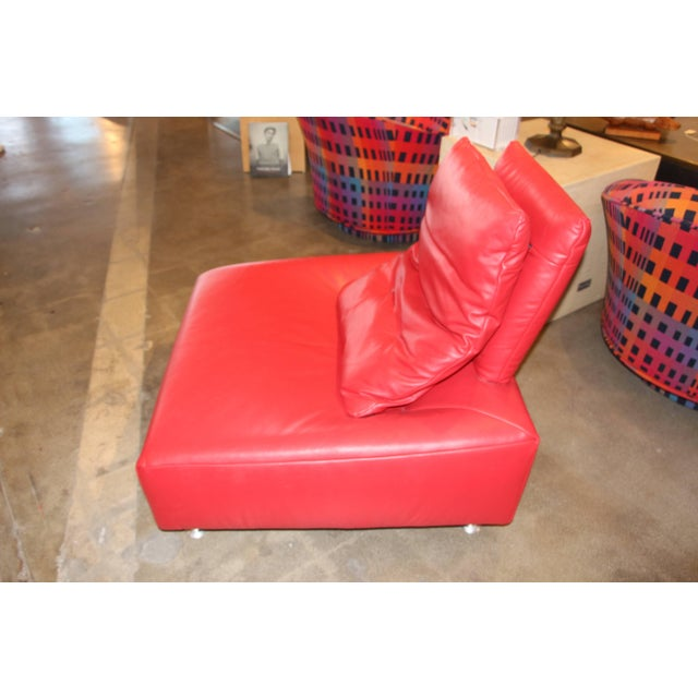 Red Leather Italian Lounge Chair For Sale - Image 4 of 7