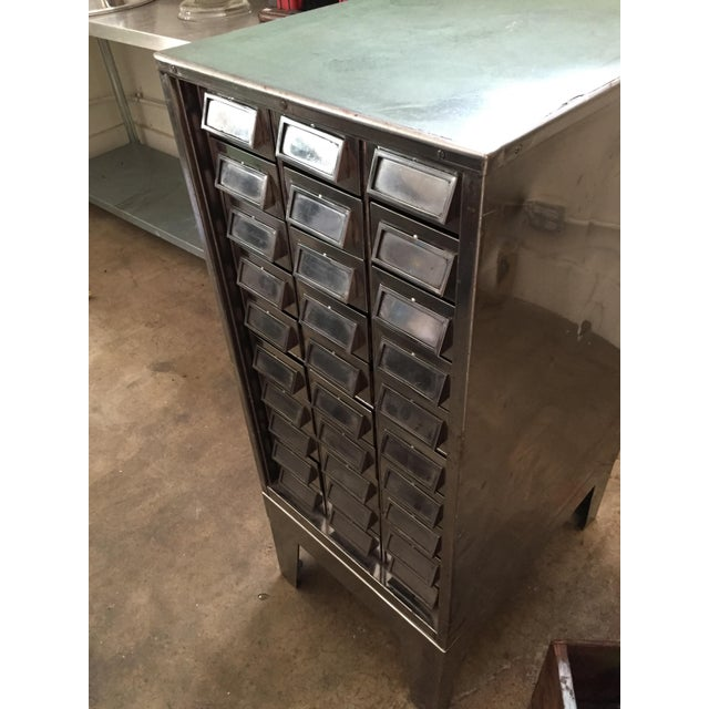 Silver Vintage Mid-Century Metal Library Cabinet For Sale - Image 8 of 11