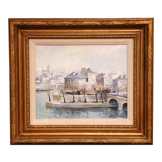 "Framed Oil on Canvas Painting ""L'Ile Saint-Louis, Paris"" Signed Lucien Delarue For Sale"