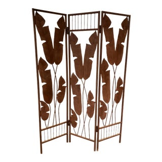 Hollywood Regency Iron Folding Screen With Banana Leaf Motif For Sale