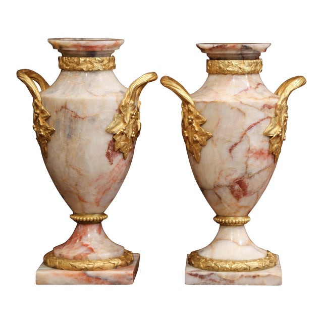Pair of 19th Century French Beige Marble and Bronze Dore Cassolettes Vases For Sale