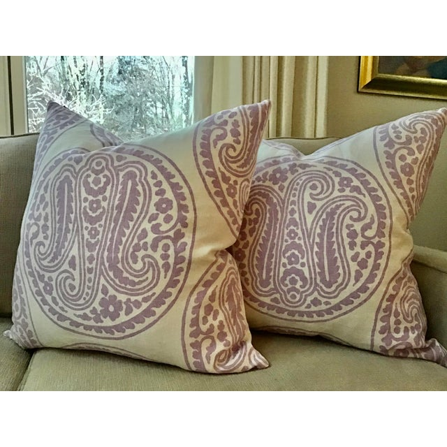 "Belgian Belgian Raoul ""Mira"" Paisley in Lilac Down Filled Pillows - a Pair, 21"" For Sale - Image 3 of 4"