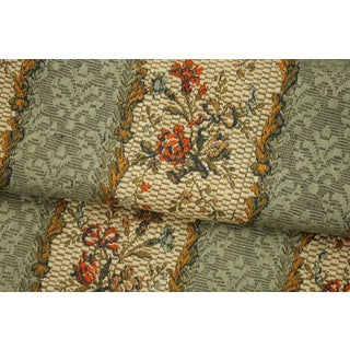 Fabric With Woven Floral Ribbon And Striped Pattern French Heavy Cotton For Pillows Sewing Projects For Sale