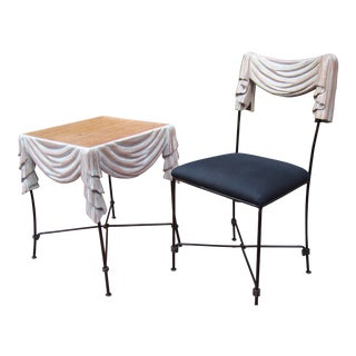 Hand Carved Artist's Drapery Vanity Table & Chair - A Pair For Sale