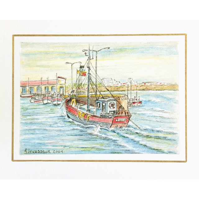 Contemporary French Port Watercolor Painting - Image 4 of 4