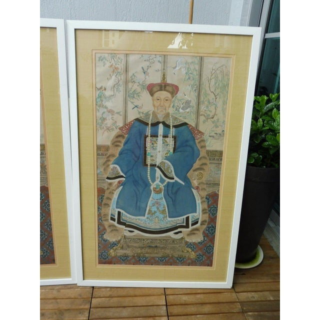 Hand Painted Chinese Ancestor Portrait Paintings - a Pair For Sale In Miami - Image 6 of 13