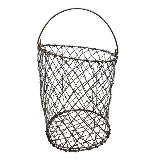 Boho Chic Vintage American Industrial Wire Basket For Sale - Image 3 of 8