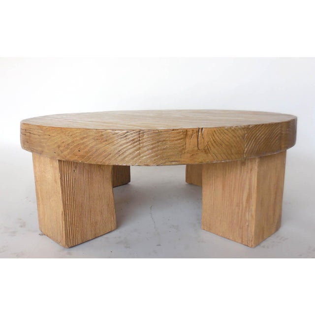 Rustic Reclaimed Wood Low Round Coffee Table by Dos Gallos Studio For Sale - Image 3 of 10