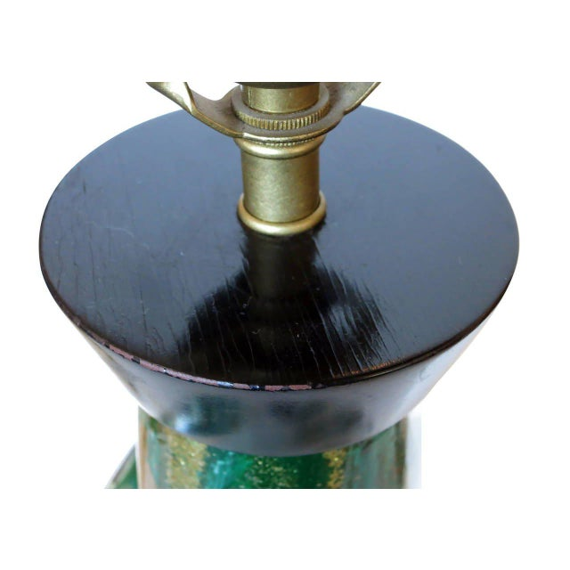 Mid-Century Murano Glass Table Lamp with Wood Base, circa 1950 - Image 8 of 9