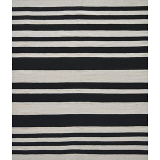 Mansour Handwoven Flat Weave Striped Wool Rug For Sale