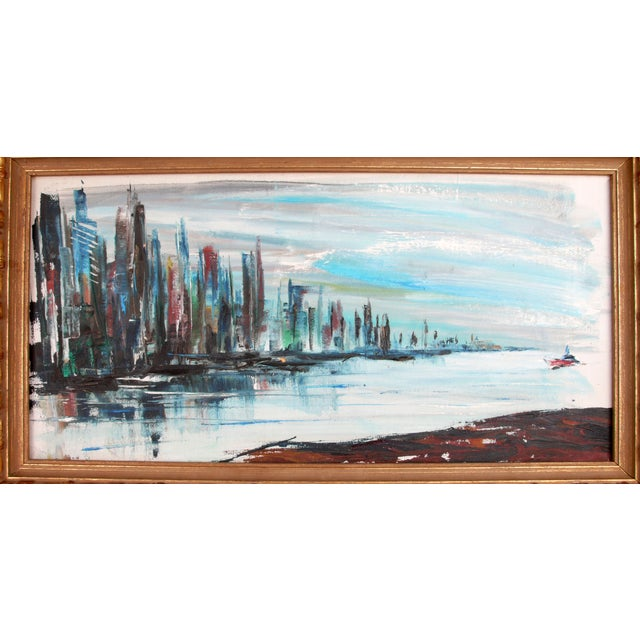 """""""East Side Skyline"""" oil painting on canvas by Rod Rodgers. Signed and numbered on the back #1064709. Decorative giltwood..."""