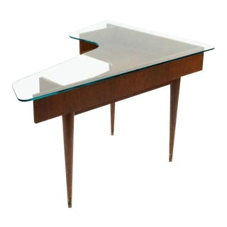 Mid-Century Glass Top Corner Table or Desk For Sale