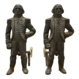 Image of 19th Century American Napoleon Cast Iron Andirons or Firedogs by Howes - Pair For Sale