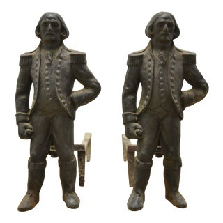 19th Century American Napoleon Cast Iron Andirons or Firedogs by Howes - Pair For Sale