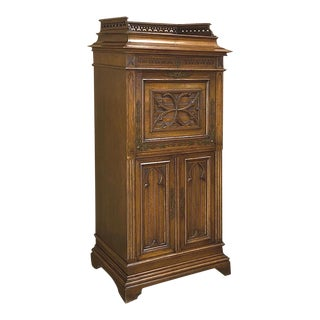 19th Century French Gothic Walnut Secretary ~ Cabinet For Sale