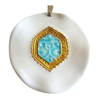 Royal Copenhagen & Anton Michelsen Danish Modernist Porcelain + Sterling Silver Pendant For Sale