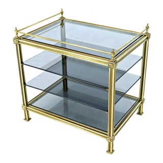 Fine Brass Smoked Glass Magazine Rack Stand Paper Tray With Gallery For Sale