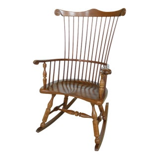 Frederick Duckloe Cherry Fan Back Windsor Rocking Chair For Sale