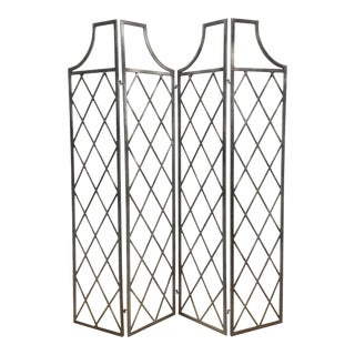 Modern Lattice Pattern Gray Metal Screen/Room Divider For Sale