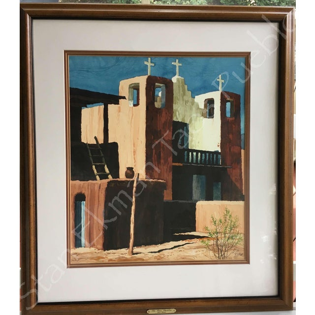 Rare Stanley Ekman the Taos Pueblos Original Watercolor - Image 3 of 11