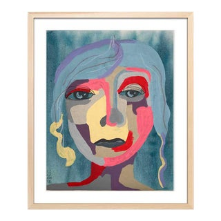 "Abstract Portrait ""Blue-Haired Babe"" Framed Original Artwork by Contemporary Artist Linda Ward For Sale"
