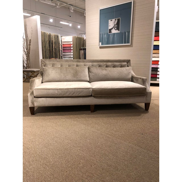 Syosset floor sample Kingston sofa Scalamandre velvet fabric Taos Moonbeam Tufted back with two loose Blendown back...