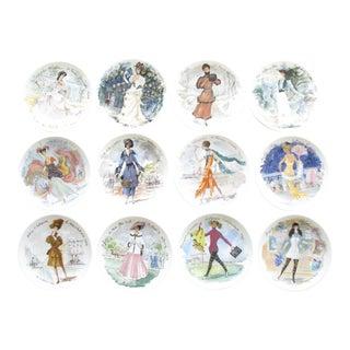 1970s d'Arceau Limoges Fashion Women of the Century Porcelain Plate Collection - 12 Plates For Sale