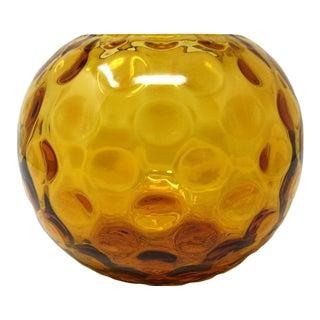 1950s Borske Sklo (Czech) Amber Nemo Optic Glass Orb Vase For Sale