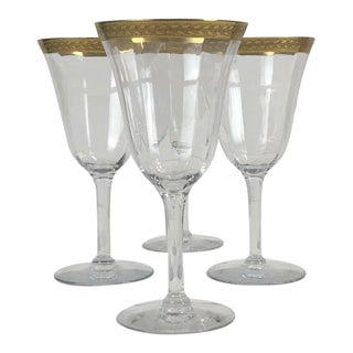 Vintage Art Deco Leaf Gold Rim Stemed Coupe Glasses - Set of Four For Sale