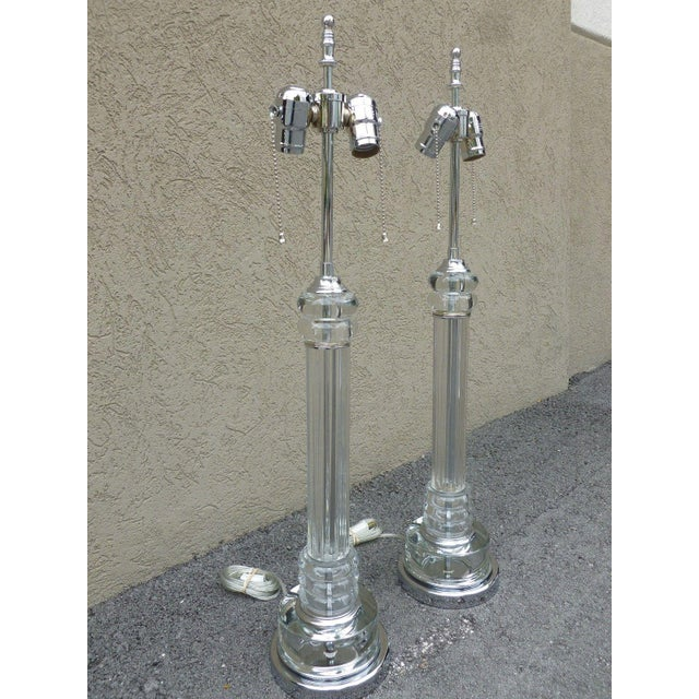 Pair of art deco tall tubular glass and chrome lamps restored and ready to go measuring 30 inches high, glass alone...