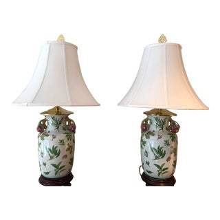 1990 Traditional Floral Pink Ceramic Table Lamps - a Pair