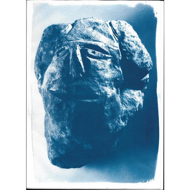 Cyanotype Print, Abstract Rock Face Sculpture on Watercolor Paper, A4 Size (Limited Edition) - Image 1 of 3