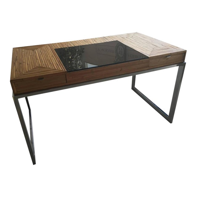 Milo Baughman Bamboo & Chrome Desk - Image 11 of 11