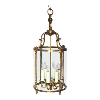 Large French Six-Light Hanging Lantern of Gilt Metal and Glass (13 1/2 Diameter) For Sale