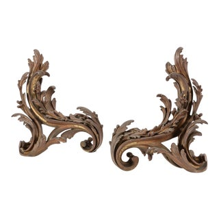 Antique 19c Louis XV Style Gilt Bronze Fireplace Chenets For Sale
