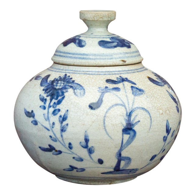 Fascinating Early 20th Century Blue and White Jar For Sale