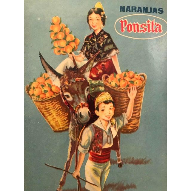 Art Deco 1920's Original Vintage Spanish Fruit Crate Label - Boy Leading Donkey (Naranjas Ponsita - Juan Pons - Tabernes De Valldigna) For Sale - Image 3 of 4