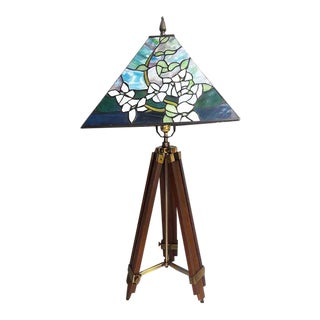 Adjustable Surveyor Tripod Lamp With Stained Glass Shade For Sale