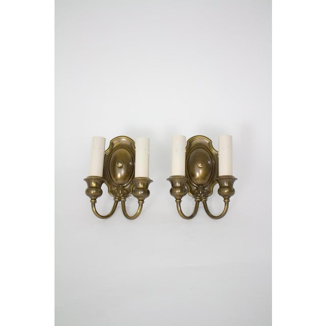 Early 20th Century 1920's Traditional Double Arm Brass Sconces - a Pair For Sale - Image 5 of 5