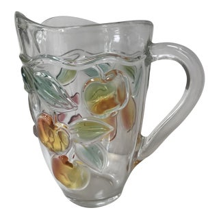 Vintage Glass Pitcher Colored Glass Fruits For Sale